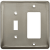 Style Selections 2-Gang Satin Nickel Decorator Rocker Steel Wall Plate