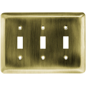 Brainerd 3-Gang Antique Brass Standard Toggle Stainless Steel Wall Plate