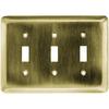 Brainerd 3-Gang Antique Brass Standard Toggle Stainless Steel Wall Plate