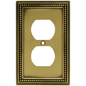 betsyfieldsdesign Beaded 1-Gang Antique Brass Single Duplex Wall Plate