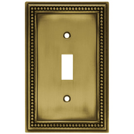 betsyfieldsdesign Beaded 1-Gang Antique Brass Single Toggle Wall Plate