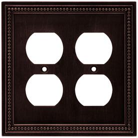 betsyfieldsdesign 2-Gang Venetian Bronze Standard Duplex Receptacle Metal Wall Plate