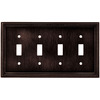 betsyfieldsdesign 4-Gang Venetian Bronze Standard Toggle Metal Wall Plate