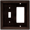 betsyfieldsdesign Beaded 2-Gang Venetian Bronze Single Toggle/Decorator Wall Plate