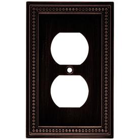 Brainerd Beaded 1-Gang Venetian Bronze Single Duplex Wall Plate
