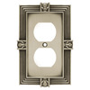 betsyfieldsdesign 1-Gang Brushed Satin Pewter Standard Duplex Receptacle Metal Wall Plate