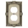 betsyfieldsdesign 1-Gang Brushed Satin Pewter Standard Duplex Receptacle Metal Wall Plate