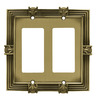 betsyfieldsdesign 2-Gang Tumbled Antique Brass Decorator Rocker Metal Wall Plate