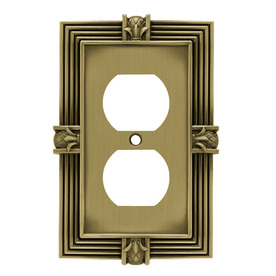betsyfieldsdesign 1-Gang Tumbled Antique Brass Round Wall Plate