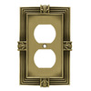betsyfieldsdesign 1-Gang Tumbled Antique Brass Standard Duplex Receptacle Metal Wall Plate