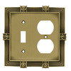 betsyfieldsdesign 2-Gang Tumbled Antique Brass Standard Duplex Receptacle Metal Wall Plate