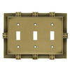 betsyfieldsdesign 3-Gang Tumbled Antique Brass Standard Toggle Metal Wall Plate