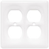 Brainerd 2-Gang White Standard Duplex Receptacle Ceramic Wall Plate