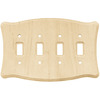 Brainerd 4-Gang Unfinished Birch Standard Toggle Wood Wall Plate