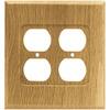 Brainerd 2-Gang Medium Oak Standard Duplex Receptacle Wood Wall Plate