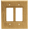 Brainerd 2-Gang Medium Oak Decorator Rocker Wood Wall Plate