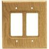 Brainerd 2-Gang Medium Oak Decorator Rocker Wood Wall Plate