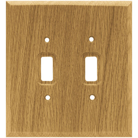 Brainerd 2-Gang Medium Oak Standard Toggle Wood Wall Plate
