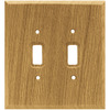 Brainerd 2-Gang Medium Oak Standard Toggle Wood Wall Plate