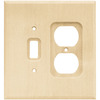 Brainerd Wood Square 2-Gang Light Wood Double Toggle/Duplex Wall Plate