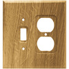 Brainerd 2-Gang Medium Oak Standard Duplex Receptacle Wood Wall Plate