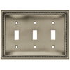 betsyfieldsdesign Beaded 1-Gang Brushed Satin Pewter Single Duplex Wall Plate