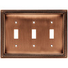 betsyfieldsdesign 3-Gang Aged Brushed Copper Standard Toggle Metal Wall Plate