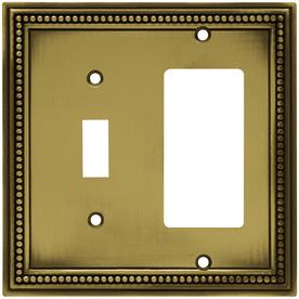 betsyfieldsdesign 2-Gang Antique Brass Decorator Metal Wall Plate
