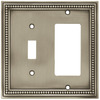 betsyfieldsdesign Beaded 2-Gang Brushed Satin Pewter Single Toggle/Decorator Wall Plate