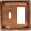 betsyfieldsdesign 2-Gang Aged Brushed Copper Decorator Rocker Metal Wall Plate