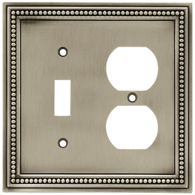 betsyfieldsdesign Beaded 2-Gang Brushed Satin Pewter Single Toggle/Duplex Wall Plate