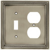 betsyfieldsdesign Beaded 2-Gang Brushed Satin Pewter Single Toggle/Duplex Wall Plate