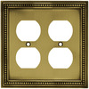 betsyfieldsdesign 2-Gang Antique Brass Standard Duplex Receptacle Metal Wall Plate