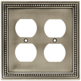 betsyfieldsdesign 2-Gang Brushed Satin Pewter Standard Duplex Receptacle Metal Wall Plate