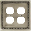 betsyfieldsdesign Beaded 2-Gang Brushed Satin Pewter Double Duplex Wall Plate