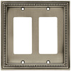 betsyfieldsdesign Beaded 1-Gang Brushed Satin Pewter Single Decorator Wall Plate