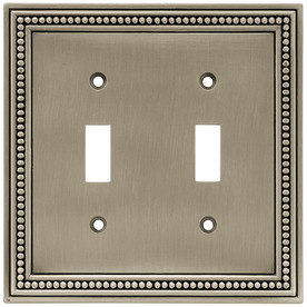 Brainerd Beaded 1-Gang Brushed Satin Pewter Single Toggle Wall Plate