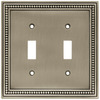 Brainerd 2-Gang Brushed Satin Pewter Standard Toggle Metal Wall Plate
