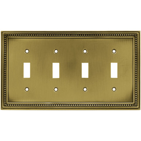 betsyfieldsdesign 4-Gang Antique Brass Standard Toggle Metal Wall Plate