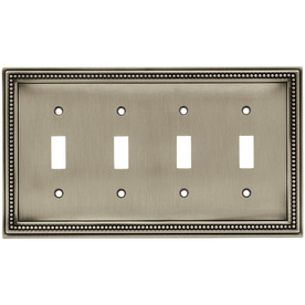 betsyfieldsdesign 4-Gang Brushed Satin Pewter Standard Toggle Metal Wall Plate