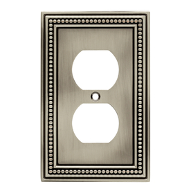 Brainerd Beaded 2-Gang Brushed Satin Pewter Double Toggle Wall Plate