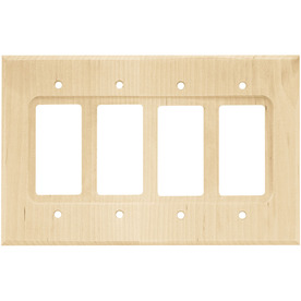 Brainerd Wood Square 4-Gang Unfinished Birch Decorator Wood Wall Plate