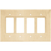 Brainerd Wood Square 4-Gang Unfinished Birch Decorator Rocker Wood Wall Plate