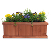 Matthews Four Seasons 14-in x 12-in Heartwood Wood Rustic Planter