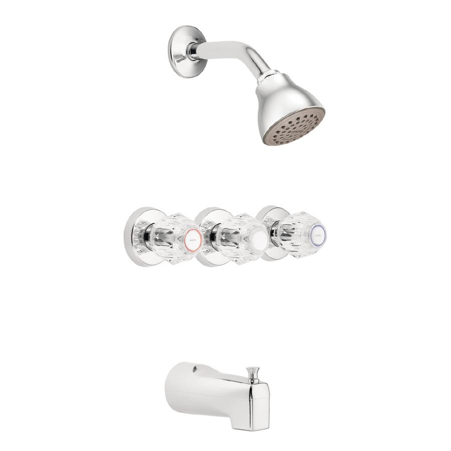 Shop Moen Chateau Chrome 3 Handle Shower Faucet With Single Function Showerhe