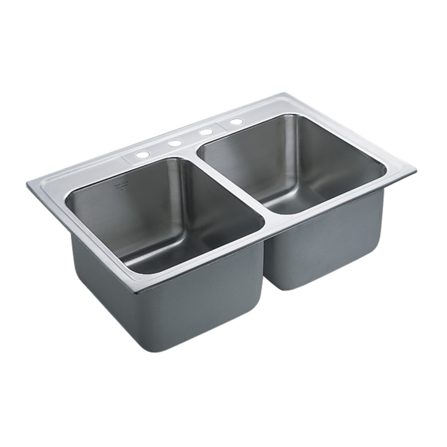 Commercial Basin : Shop Moen Commercial 37.9-in x 23.7-in Stainless Steel Double-Basin ...