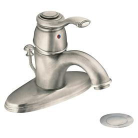 Moen Kingsley Antique Nickel 1-Handle Single Hole/4-in Centerset WaterSense Labeled Bathroom Sink Faucet (Drain Included)