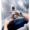 Moen Kingsley Chrome 1-Handle 4-in Centerset WaterSense Bathroom Faucet (Drain Included)