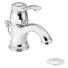 Moen Kingsley Chrome 1-Handle Single hole/4-in Centerset WaterSense Bathroom Sink Faucet (Drain Included)