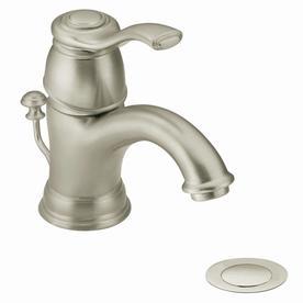Moen Kingsley Brushed Nickel 1-Handle 4-in Centerset WaterSense Bathroom Faucet (Drain Included)